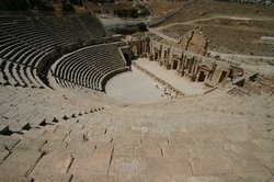 Looking down on the amphitheatre at Jerash