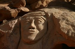 There were a few faces of Lawrence carved into the rocks throughout Wadi Rum