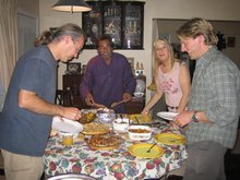 Grub's up - Alex, Taimur, Susan and Martin tuck in