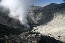 The steaming crater of Mt. Bromo